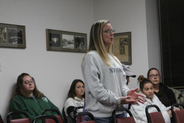Catherine Boles speaks to the board on issues of harassment and bullying at North Elementary. Boles asked to know what was being done about a specific situation. BA photo by James Norman