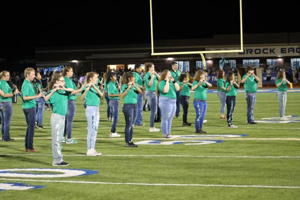 The Breckenridge marching band performs at halftime following Brock's homecoming ceremony. BA photo by James Norman