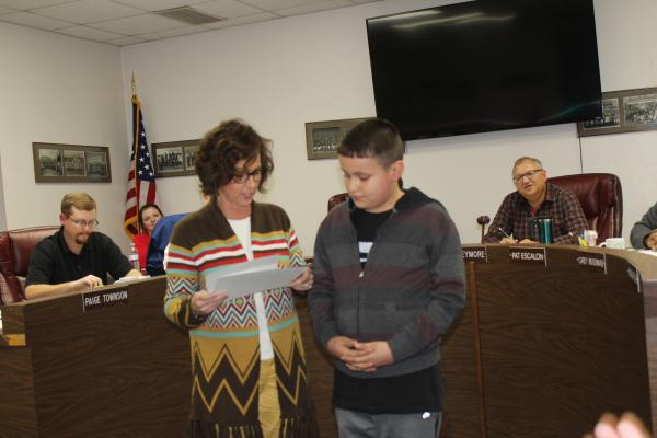 The Student of the Month for South Elementary is fifth-grader Anthony Munoz from Jennifer McKay's classroom. Assistant principal Prairie Freeman was on hand to present the certificate. BA photo by Jean Hayworth
