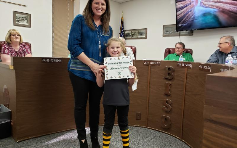 Miranda Warren was the Student of the Month for East Elementary in March. BA photo by James Norman