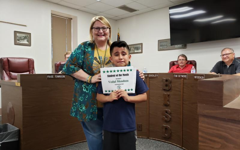 Vedal Mendoza was selected as North Elementary's Student of the Month. BA photo by James Norman