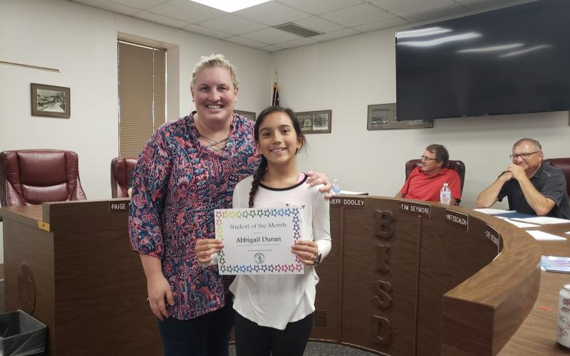Abbigail Duran was selected as South Elementary's Student of the Month. BA photo by James Norman
