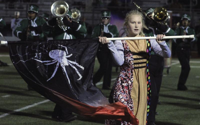 The Pride of Breckenridge High School performs during halftime of the Breckenridge-Boyd football game. The band wrapped up the marching season Saturday with a top-20 finish at the area competition.