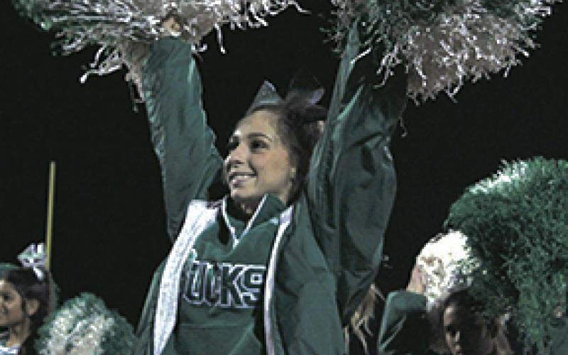 Breckenridge High School senior Kelli Wilcox cheers during the Ponder/Breckenridge football game.