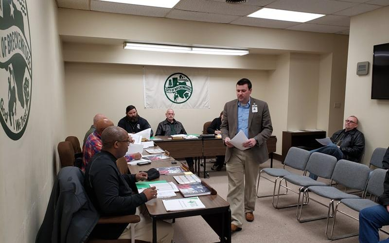 The Breckenridge City Commissioners receive a report from Stephens Memorial Hospital CEO Matt Kempton at their monthly meeting on Tuesday, March 5. BA photo by James Norman