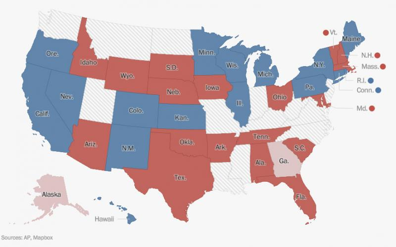 Us Red Blue Map 2018.2018 Midterms Keeps Texas Red Splits Congressional Chambers