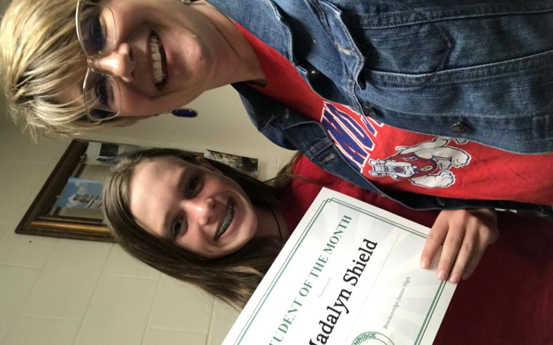Madalyn Shield was awarded Student of the Month at Breckenridge Junior High for the month of March. Photo contributed.