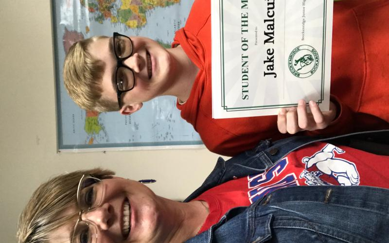 Jake Malcuit was awarded Student of the Month at Breckenridge Junior High for the month of February. Photo contributed.