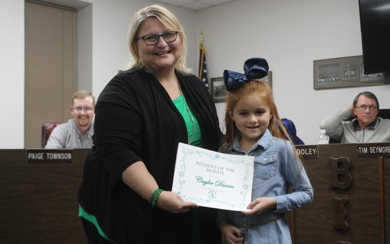 Caylee Duran won student of the month at North Elementary. BA photo by James Norman