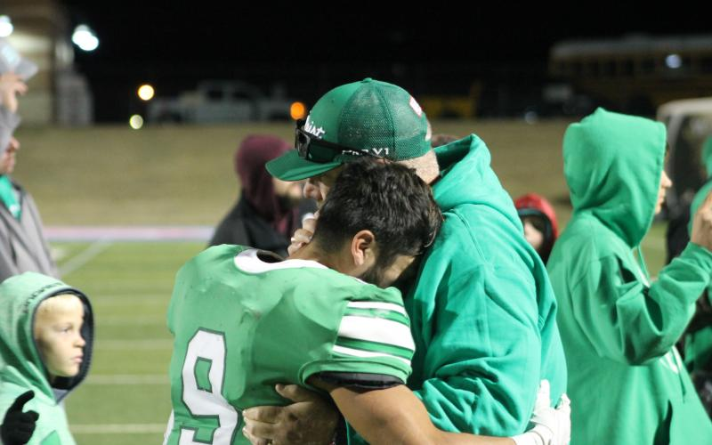 Angel Ruiz (9) becomes emotional after the Bucks playoff loss Thursday night. Ruiz had three touchdowns on the night, including two in the fourth quarter. BA photo by James Norman