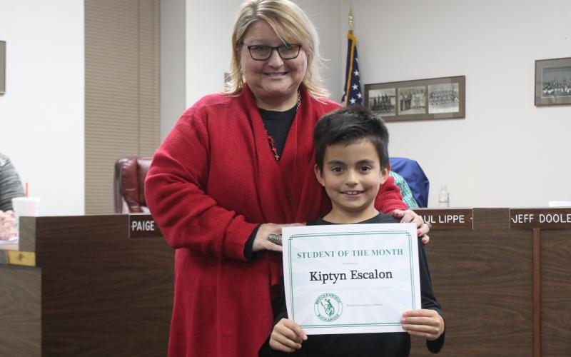 Kiptyn Escalon won student of the month for North Elementary. BA photo by James Norman