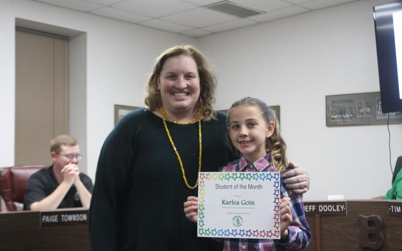 Karlea Goin won student of the month for South Elementary. BA photo by James Norman