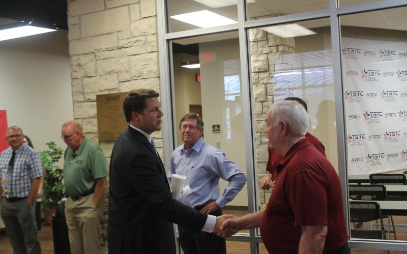U.S. Rep Jodey Arrington greets several officials from the area. Arrington spoke to the attendees for about 30 minutes and took questions for another 30 minutes.