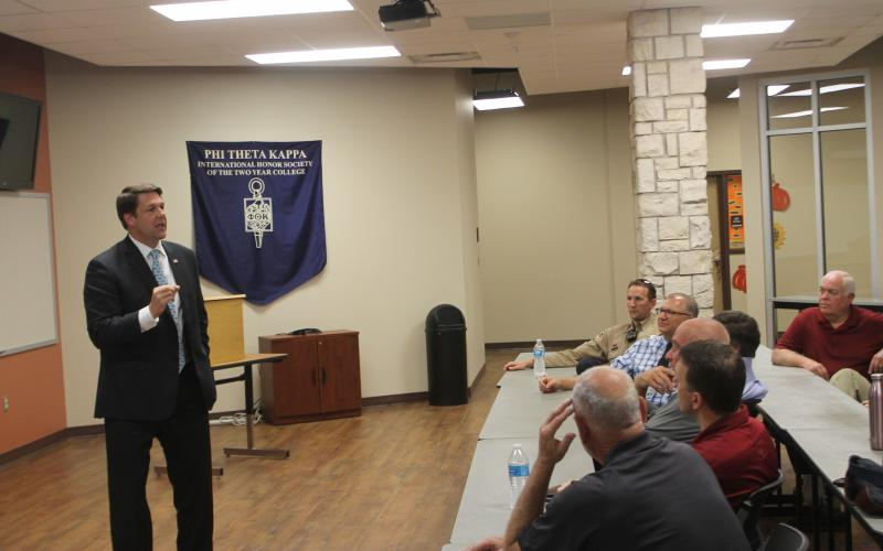 Jodey Arrington spoke to several officials from Stephens County and the city of Breckenridge. He covered several topics from the national and local level.