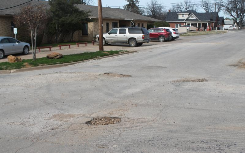Pictured here are potholes around the Hospital off South Hartford Street. BA photo by James Norman