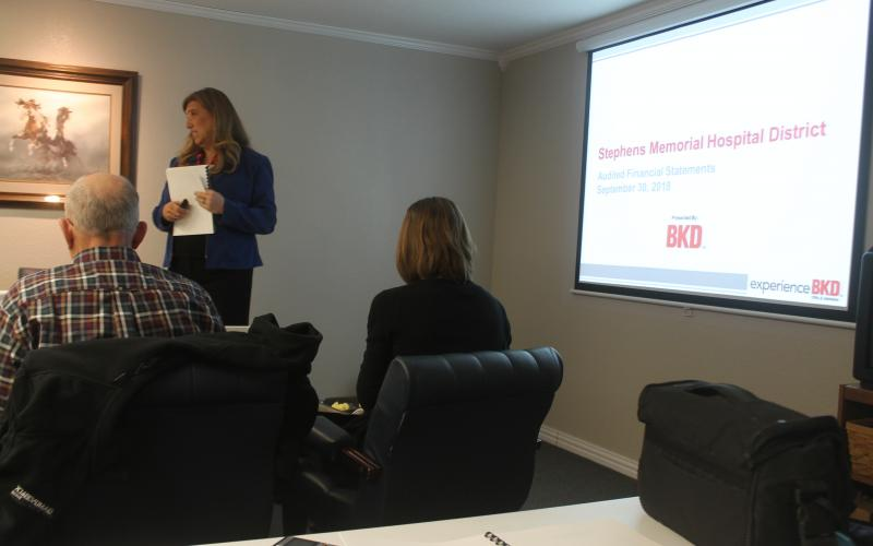 The Stephens County Memorial Hospital District Board Members received a presentation breaking down their audit for the last year, Thursday evening, Jan. 17. BA photo by James Norman