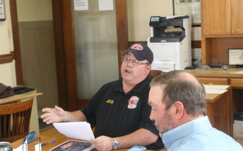 Fire Chief Calvin Chaney explains to the Stephens County Commissioners Court the risk for fires across the county, Friday morning, Jan. 18. BA photo by James Norman