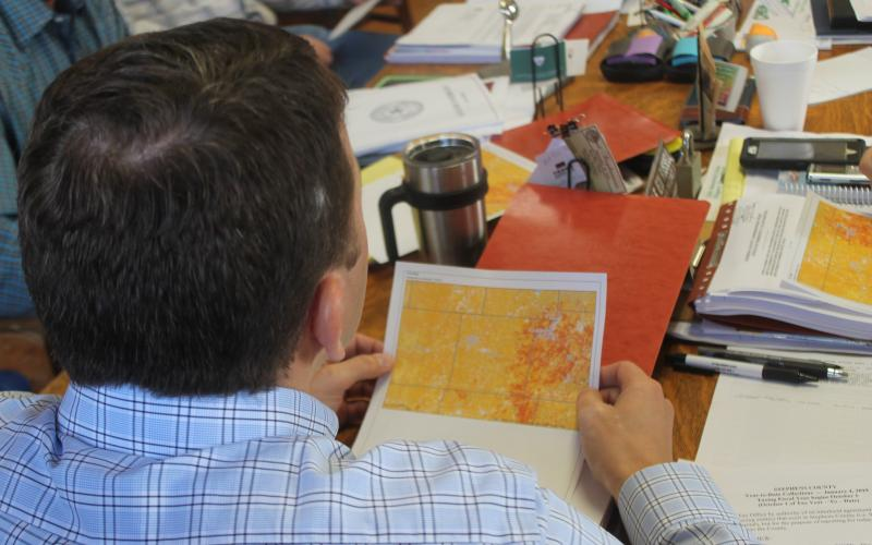 A map handed out by Fire Chief Calvin Chaney shows the risk for fire across Stephens County, with yellow being moderate and red being high. BA photo by James Norman