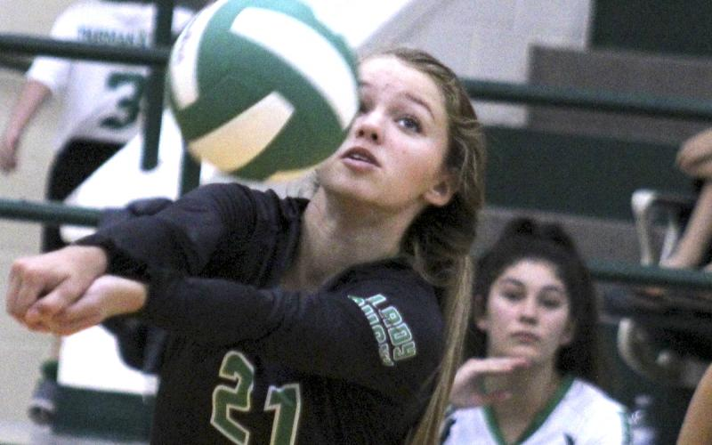 Anna Reugh makes a dig during a game against Snyder.