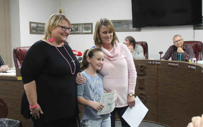 North Elementary principal Jennifer Gillard is recognizing third-grader, Teagan Deen, as the Student of the Month for October with Classroom teacher Angie Brown. BA photo by Jean Hayworth