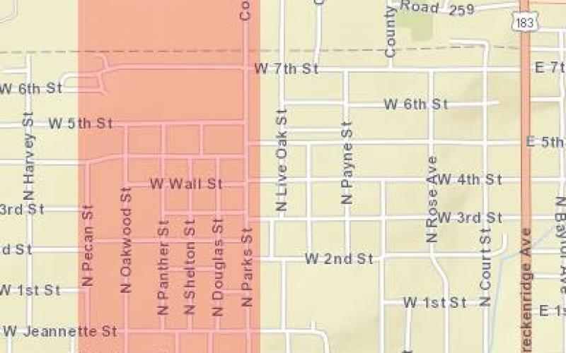 The areas impacted by the boil water notice. Photo courtesy of the city of Breckenridge Convenience Center