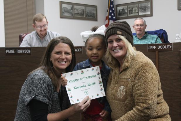Kennadie Mathis won student of the month for East Elementary. BA photo by James Norman