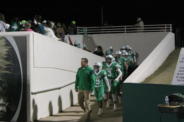 Coach Casey Hubble leads the Bucks to the tunnel minutes before their playoff kicked off in Abilene. BA photo by James Norman