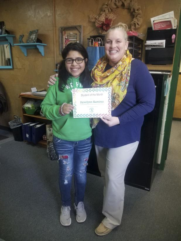 Hevelynn Ramirez won student of the month at South Elementary. Photo contributed