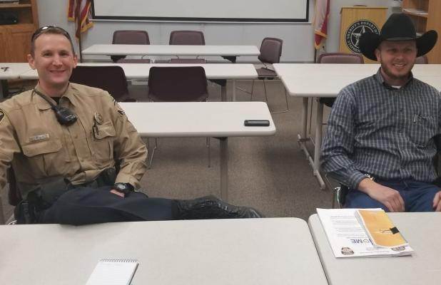 Sheriff Will Holt (left) talks about the program with Chief Deputy Kevin Roach. BA photo by Melissa Baker