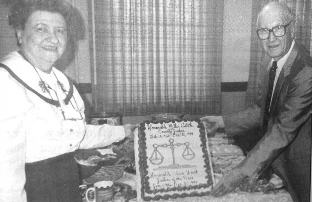 Shown here is a file photo from 1994 of Stephens County Justice of the Peace Veva Ford announcing her retirement.