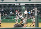 Anna Reaugh (5) has just gotten a set from Kinley Kanady (1) and goes up for a slam back at the Paradise defenders. Lady Bucks teammates McKinley Roberts (8), Grace Niklas (20) and Lilly Woodward (11) look on. The game was played at the Breckenridge ISD Athletic and Fine Arts Center, Tuesday, Sept. 18. BA photo by Jean Hayworth