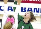 Breckenridge sophomore middle hitter Madison Stanley scores on a kill during a district game against Eastland last Saturday. The Lady Bucks wrap up the regular season Tuesday.
